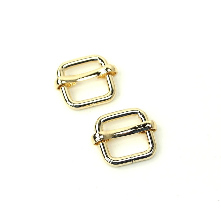 CLEARANCE Two Gold Slider Buckles 1/2""