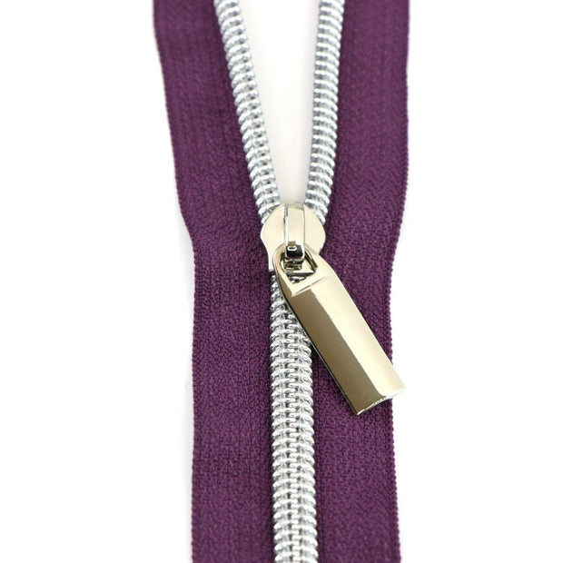 Purple #5 Nylon Coil Zippers: 3 Yards with 9 Pulls