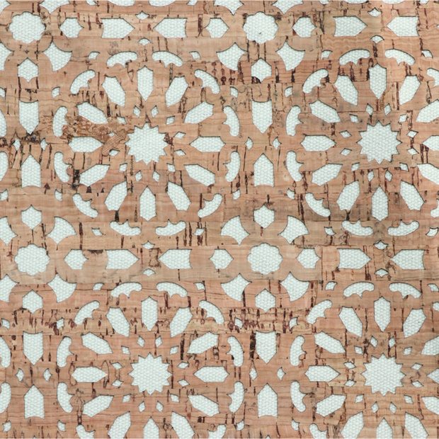 1/2 Yard Cut: PRO Lite Cream Canvas Backed Mandala Cork Fabric