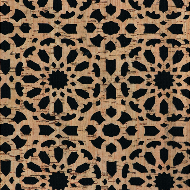 1/2 Yard Cut: PRO Lite Black Canvas Backed Mandala Cork Fabric