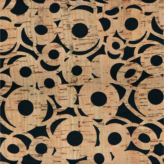 PRO Lite Black Canvas Cheery O's Cork Fabric By the Inch
