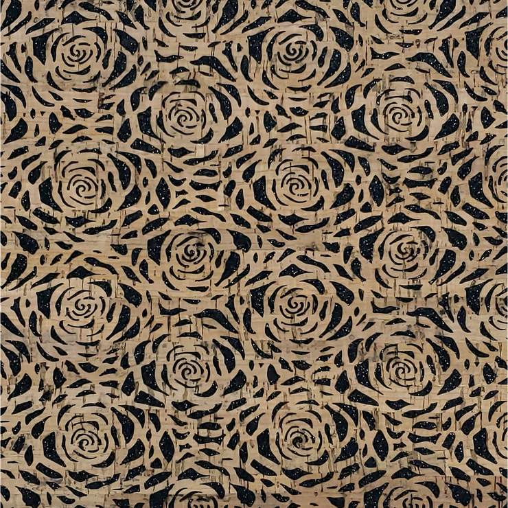 PRO Lite Black Glitter Backed Roses Cork Fabric By the Inch