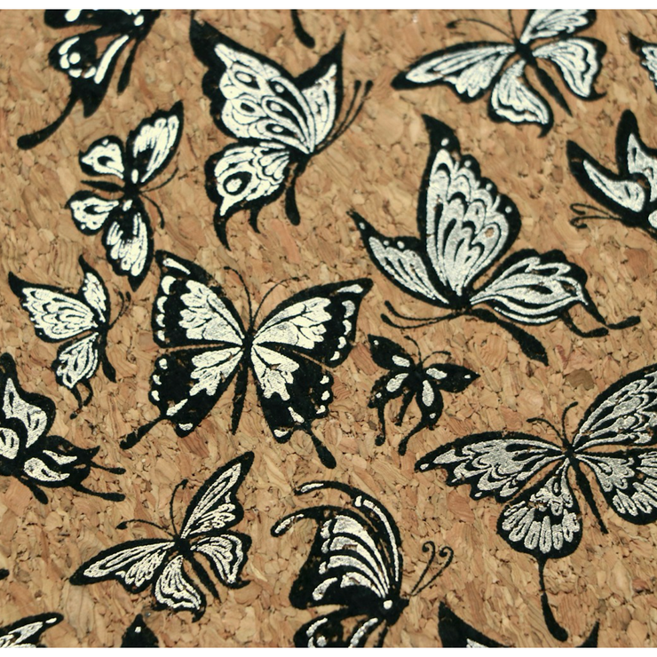 1/2 Yard Cut: PRO Lite Silver Butterflies Cork Fabric