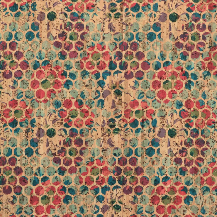 PRO Gold Flecked Grunge Floral Dot Cork Fabric 1 inch