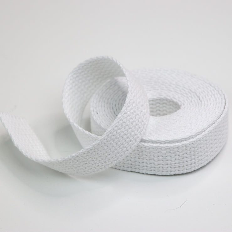 "REMNANT 3 1/2 Yards 1"" White Cotton Webbing"