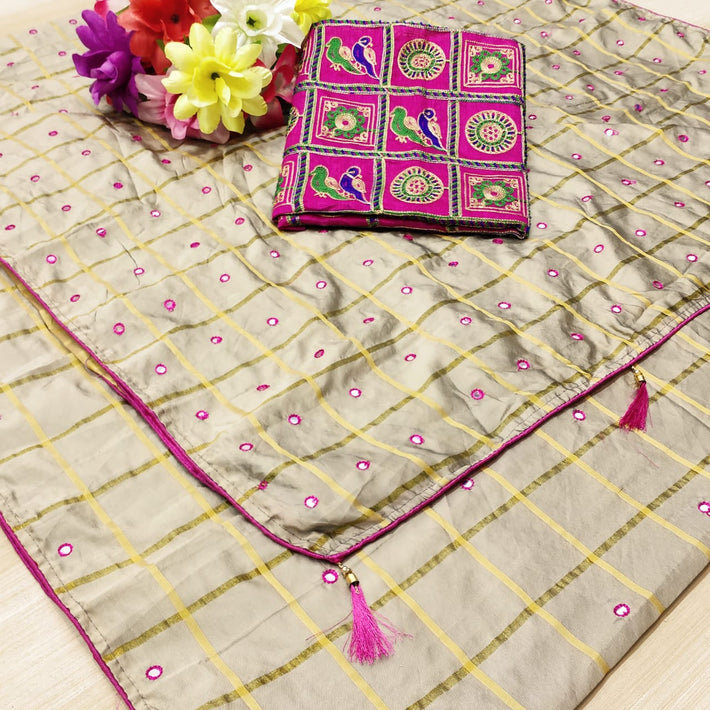 Panedar Sana silk with mirror work saree