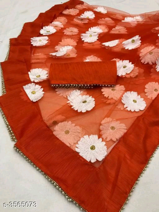 Net saree with heavy embroidery work