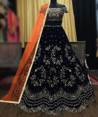 VELVET WITH EMBROIDERY WORK LEHENGA CHOLI