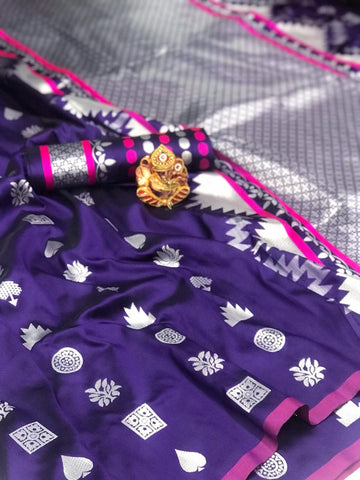 SOFT LICHI SILK WITH SILVER WEAVING WORK WITH STYLISH LOOK SAREE