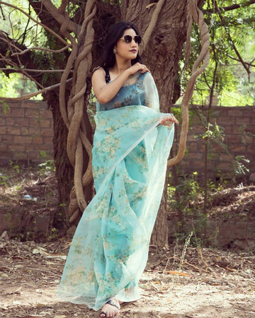 DIGITAL PRINT ORGANZA SILK SAREE