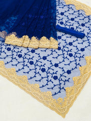 Heavy net with embroidery worked saree