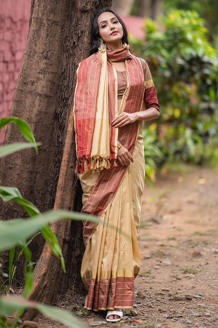 Soft raw silk saree