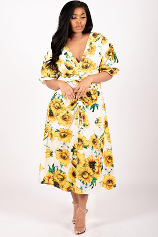 Sunflower print midi dress