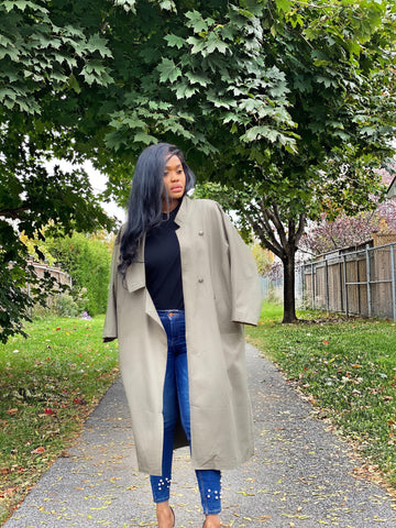 Oversized Woven Long Trench Coat