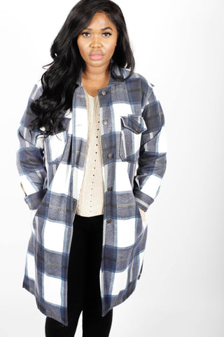 Longiligne Thick Colour Block Checked Shirt Jacket Shacket