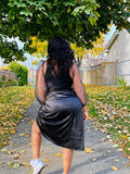 Satin Midi black Skirt