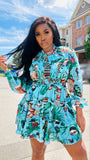 Tropical Drum Print Turquoise Chiffon Mini Dress