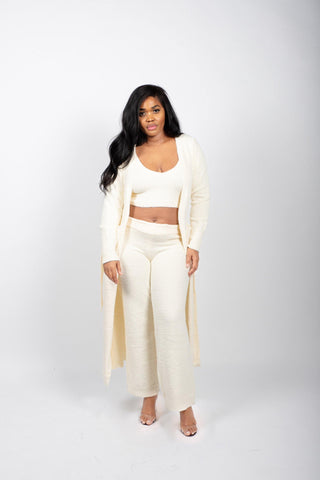 Fluffy Knit Crop Tank Top and Pants Set in Cream