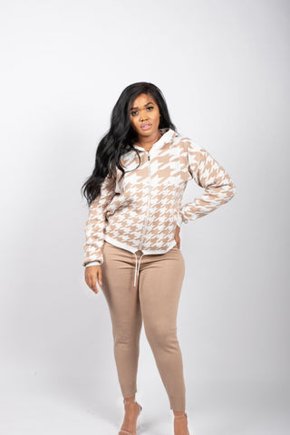 EALGA ZIPPED UP JACKET AND PANTS SET (TAUPE)