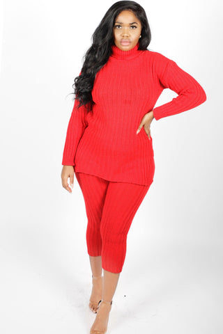 Red Polo Neck Loungewear Set