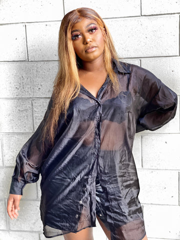 Organza Oversized Button Down Shirt