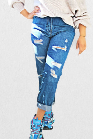 M.L.S.K Multi Rip Turn Up Hem Boyfriend Jeans