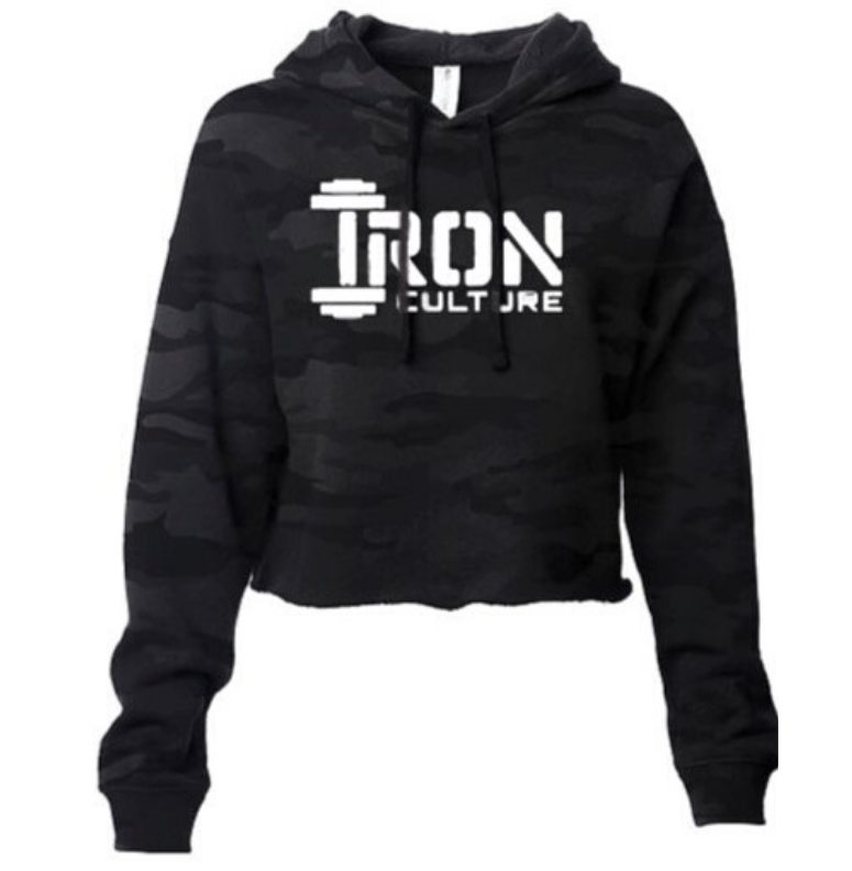Black Camo Crop Top Hoodie - Iron Culture Merchandise