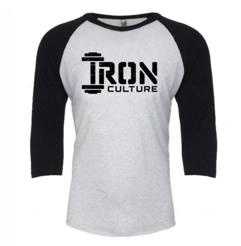 Unisex 3/4 Sleeve T White - Iron Culture Merchandise