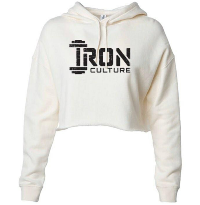 White Crop Top Hoodie - Iron Culture Merchandise
