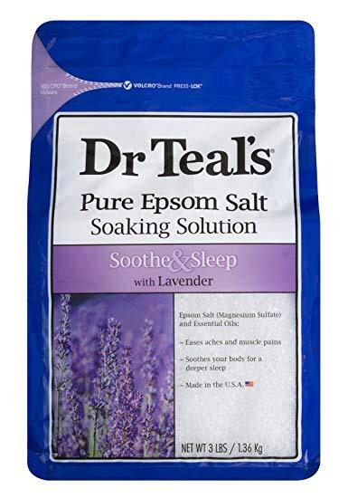 Dr Teal's Pure Epsom Salt Soaking Solution, Soothe & Sleep with Lavender, 3 lb