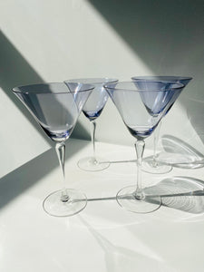 Set of 4 lavender martini glasses with detailed stem