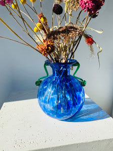 Blue Grecian-style art glass vase