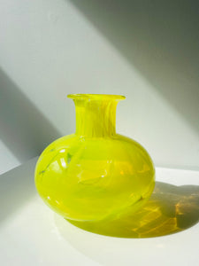 Neon yellow art glass vase by Belfor