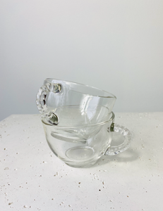 Set of 2 clear mugs with braided handle