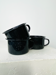 Set of 3 black white speckled camping mugs