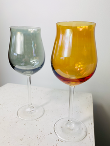 Set of 2 Smokey/pearlescent wine glasses