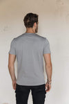 Pima Cotton T Shirt V Neck - Moondust Grey.