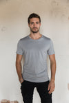 Pima Cotton T Shirt Crew Neck - Moondust Grey.