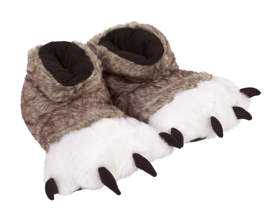 Brown Wolf Paw Slippers