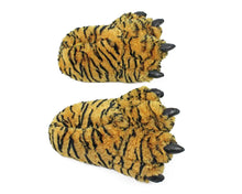 Load image into Gallery viewer, Orange Tiger Paw Slippers