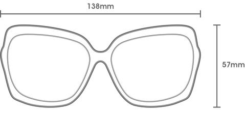 This is an image of the measurements of the grace sunglass frames which are 138mm wide and 57mm high.