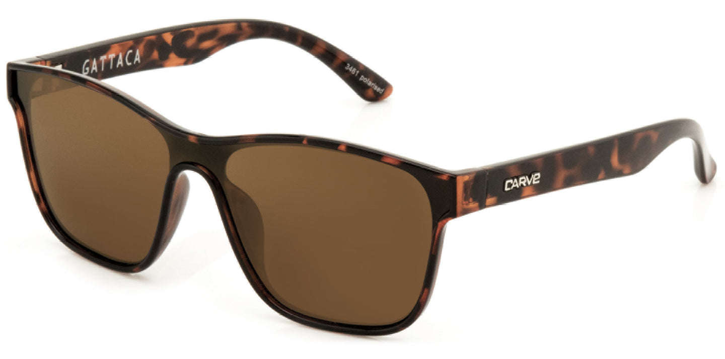 GATTACA Polarized Sunglasses by Carve | Gloss tort frame | Brown lens
