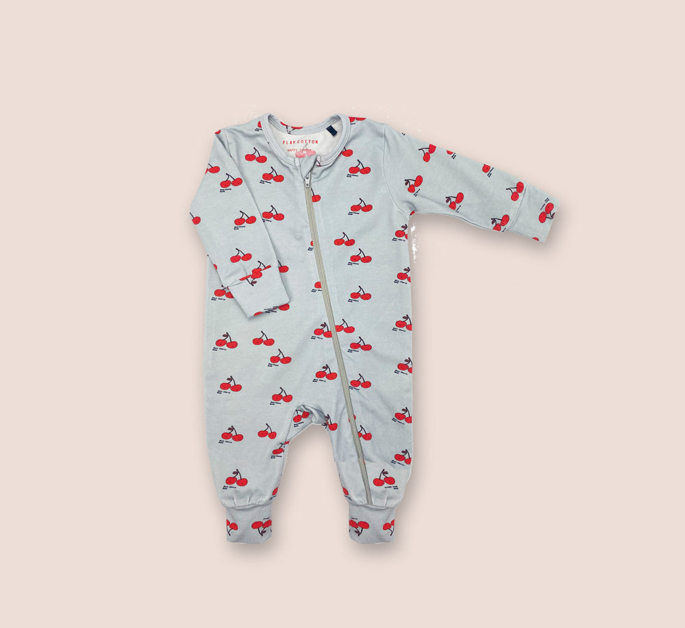Cherry Sleep Suit - Play Cotton