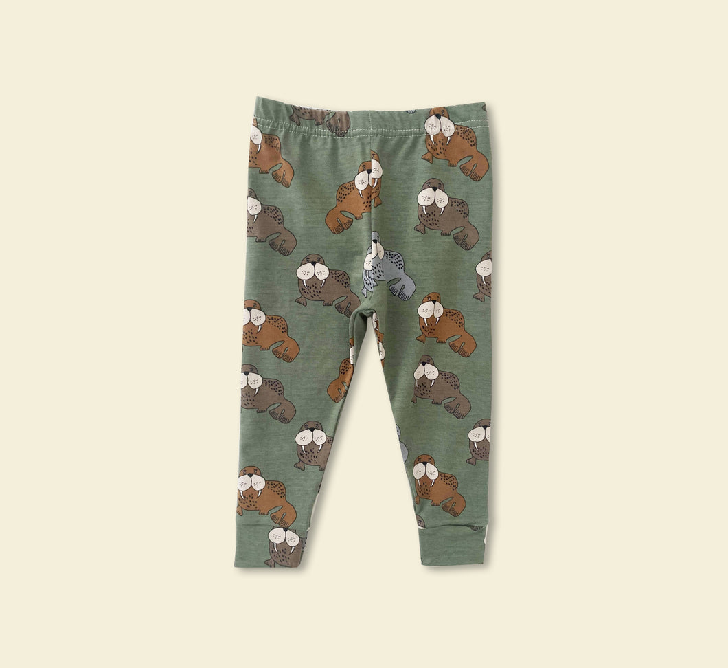 Green Walrus Leggings - Play Cotton