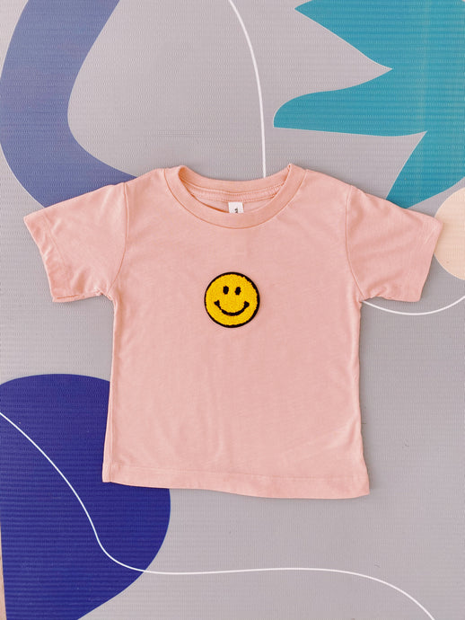 Peach Smiling Face Tee - Play Cotton