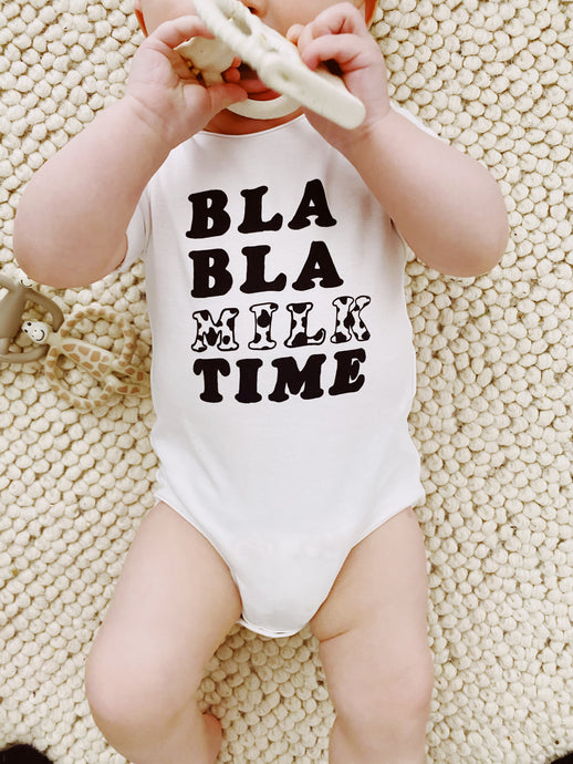 Blah Blah Milk Time Baby Grow - Play Cotton
