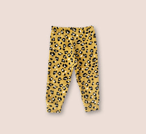 Thick Cosy Leopard Mustard Leggings - Play Cotton