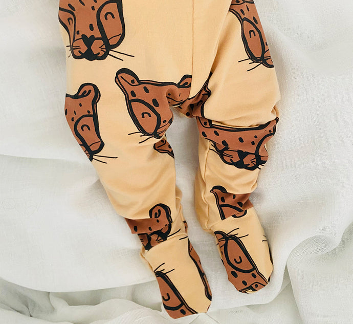 Cheetah Face Little Leggings with Feet - Play Cotton