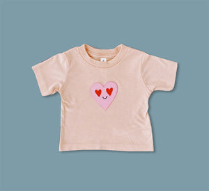 Pink Love Heart Eyes Tee - Play Cotton