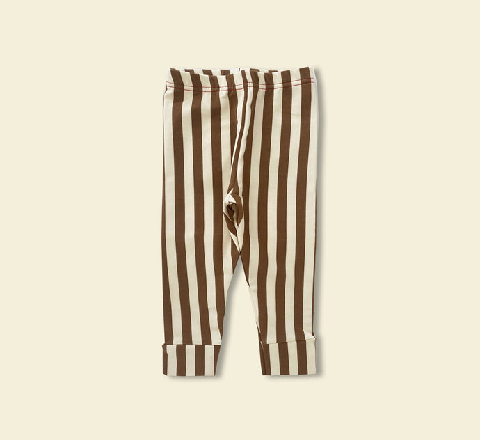 Thick Cosy chocolate Stripe Leggings - Play Cotton